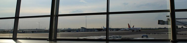 Large window at airport