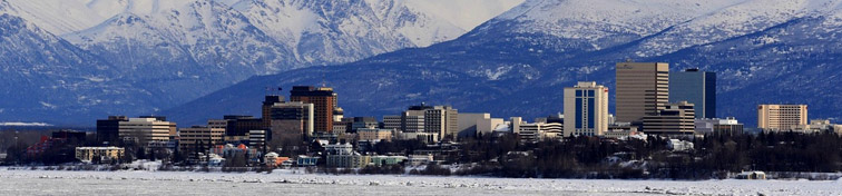 Anchorage Skyline with a water reflection