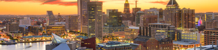 The city of Baltimore, Maryland, at dusk