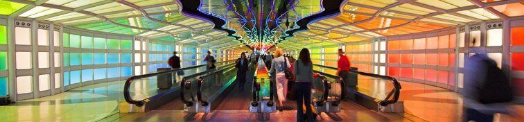 Sky's The Limit, the largest light sculpture in the world connecting Concourse B and C at Chicago O'Hare Terminal 1