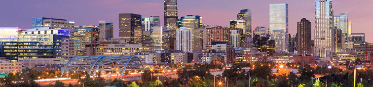 The Denver city skyline in Colorado by night