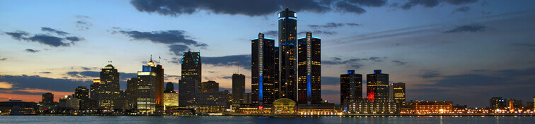 Detroit city skyline at dusk