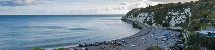 Panoramic view over Beer traditional fishermen village in Devon,UK