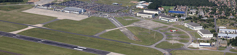 Aerial view of Doncaster Sheffield Airport, UK