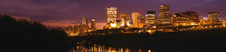 Night scene of the saskatchewan river valley and downtown in city edmonton