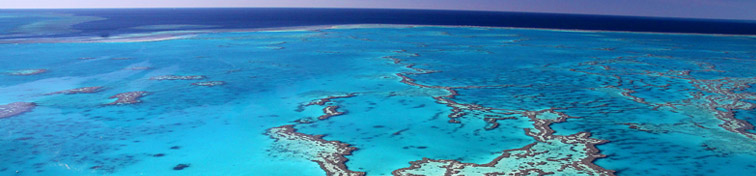 Aerial view of the Great Barrier Reef in Queensland