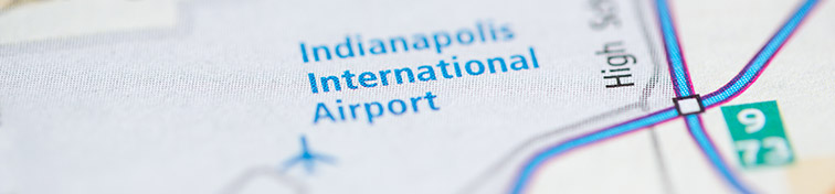 Map centered on Indianapolis Airport