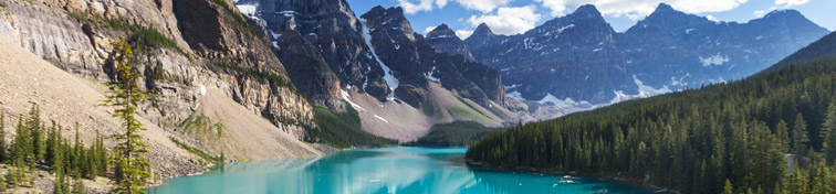 View of Lake Morraine in the Canadian Rockies