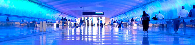 Detroit Metro Airport light tunnel connecting departures terminals