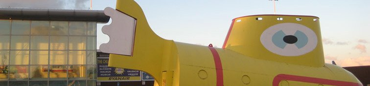 The Beatles' Yellow Submarine outside Liverpool John Lennon Airport