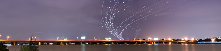 Long exposure shot of air planes landing at Ronald Reagan Airport