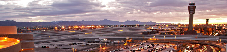 Phoenix Airport from the parking garages at dusk