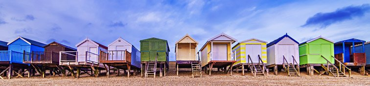 Colourful huts on a beach in Southend-on-Sea, Essex