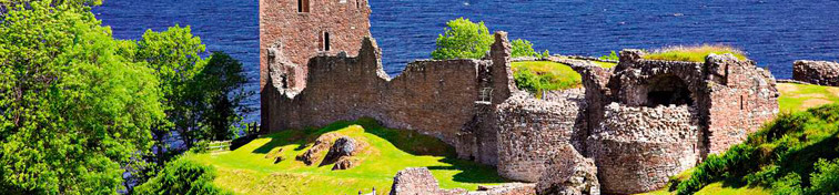 Ruins of Scotland Urquhart Castle near Loch Ness