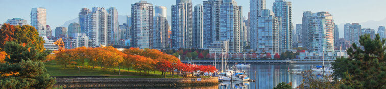 View of Vancouver cityscape from Stanley Park