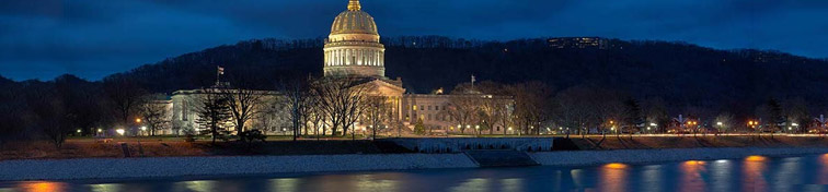 West Virginia State Capitol building from across the Kanawha River, Charleston